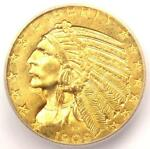 1909 D INDIAN GOLD HALF EAGLE $5 COIN   ICG MS63    IN MS63   $1 030 VALUE