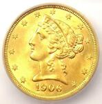 1906 LIBERTY GOLD HALF EAGLE $5 COIN   CERTIFIED ICG MS65      $2 690 VALUE