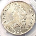 1824 CAPPED BUST HALF DOLLAR 50C O 117   PCGS AU DETAILS    CERTIFIED COIN