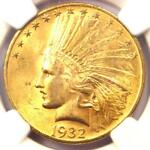 1932 INDIAN GOLD EAGLE  $10 COIN    NGC MS64  PQ PLUS GRADE   $1 500 VALUE
