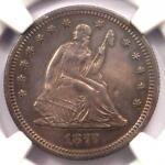 1877 S SEATED LIBERTY QUARTER 25C. NGC UNCIRCULATED DETAIL  UNC MS     COIN