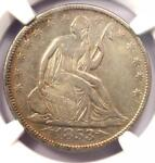 1853 ARROWS & RAYS SEATED LIBERTY HALF DOLLAR 50C   CERTIFIED NGC XF DETAILS