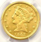 1842 C LIBERTY GOLD HALF EAGLE $5   PCGS VF DETAILS    CHARLOTTE GOLD COIN