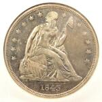 1843 SEATED LIBERTY SILVER DOLLAR $1 COIN   NGC AU50      $950 VALUE