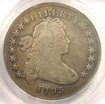 1795 DRAPED BUST SILVER DOLLAR  $1 COIN SMALL EAGLE    ANACS F12 DETAILS