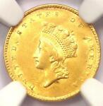 1854 TYPE 2 INDIAN GOLD DOLLAR  G$1 COIN    CERTIFIED NGC AU DETAILS    TYPE