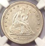 1874 S ARROWS SEATED LIBERTY QUARTER 25C   NGC AU DETAILS    TYPE COIN