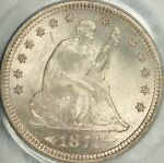 1874 S ARROWS SEATED QUARTER PCGS MS65