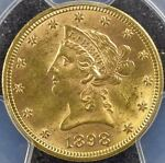 1898 PHILADELPHIA USA GOLD LIBERTY HEAD $10 MOTTO PCGS MS 63  KM102