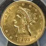 1903 PHILADELPHIA USA GOLD LIBERTY HEAD $10 MOTTO PCGS MS 63  KM102  TY3