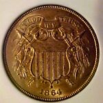 1864 2C LARGE MOTTO TWO CENT PIECE NGC MS65RD