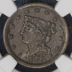 1853 C 1 NGC AU58BN BRAIDED HAIR HALF CENT ITEMM1264