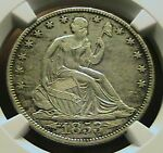 1853 O SILVER SEATED HALF DOLLAR WITH ARROWS AND RAYS NGC XF40 DETAILS