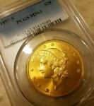 PCGS MS63   1897 S  $20  GOLD LIBERTY DOUBLE EAGLE AMAZING LUSTER
