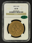 1855 S DOUBLE EAGLE TYPE 1 $20 GOLD LIBERTY NGC AU 58 CAC  125934