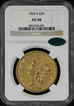 1855 S DOUBLE EAGLE TYPE 1 $20 GOLD LIBERTY NGC AU 58 CAC  125936