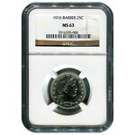CERTIFIED BARBER QUARTER 1916 MS63 NGC