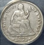 1874 10C SEATED LIBERTY DIME VF20 DETAILS ANACS