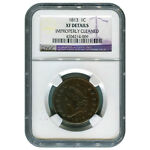 CERTIFIED LARGE CENT 1813 XF DETAILS  IMPROPERLY CLEANED  NGC