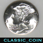 1937 SILVER MERCURY DIME 10C NGC MS66 NICE COIN FREE S/H