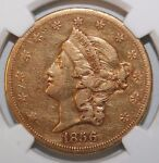 1856 S $20 GOLD LIBERTY XF  EARLY DATE TYPE 1 NGC