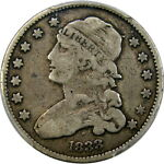 1833 25C PCGS F15 CAPPED BUST QUARTER   CHOICE ORIGINAL CRUSTY PIECE