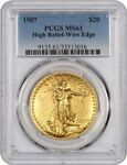 1907 HIGH RELIEF $20 PCGS MS61  WIRE EDGE  AMERICAS MOST BEAUTIFUL COIN