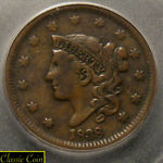 1838 U.S. MATRON LARGE CENT 1C ICG F 12 COPPER PENNY 181 YEARS OLD