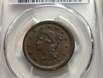 1854 1CT BRAIDED HAIR LARGE CENT  PCGS / CAC MS63BN
