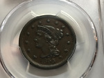 1855 1CT BRAIDED HAIR LARGE CENT  UPRIGHT 55 PCGS AU55