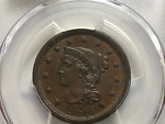1856 1CT BRAIDED HAIR LARGE CENT  PCGS / CAC UPRIGHT 5 MS62BN