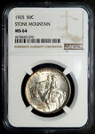 1925 STONE MOUNTAIN SILVER COMMEMORATIVE HALF DOLLAR NGC MS64