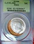 1936 CLEVELAND COMMEMORATIVE HALF DOLLAR PCGS OGH MS63 CRESCENT TONED OBVERSE