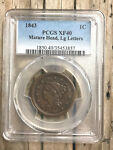 1843 BRAIDED HAIR LARGE CENT 1C PCGS XF 40 MATURE HEADS C3