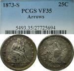 1873 S 25C SEATED LIBERTY SILVER QUARTER PCGS VF35 ARROWS  OLD TYPE COIN