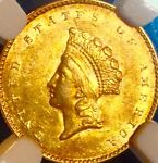 1855 INDIAN HEAD SM GOLD PL DOLLAR..NGC MS 61..SALE 24 OFF REDUCED 6/29