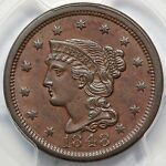 1848 N 23 R 3 PCGS MS 62 BN MDS BRAIDED HAIR LARGE CENT COIN 1C EX; TWIN LEAF