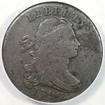 1796 S 111 R5  ANACS VG10 DETAILS DRAPED BUST LARGE CENT COIN 1C