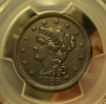 1855  PCGS  GENUINE  AU DETAILS  BRAIDED HAIR CENT   CLEANED   $180 $200