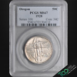 1928  50  SILVER OREGON HALF DOLLAR   PCGS MS67 SUPERB GEM BU   21304112
