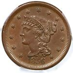 1856 N 2 PCGS MS 63 BN SLANTED 5 BRAIDED HAIR LARGE CENT COIN 1C