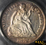 1872 AU58 PCGS H10C SEATED LIBERTY HALF DIME BEAUTIFUL PINK RIM TONING  BRIGHT