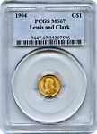 1904 LEWIS AND CLARK EXPOSITION GOLD $1 PCGS MS67