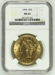 $20 1904 CORONET HEAD GOLD DOUBLE EAGLE NGC MS 62 BU UNC COIN BLAZING LUSTER