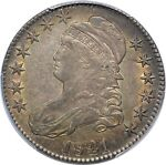 1821 CAPPED BUST HALF DOLLAR  PCGS AU53   O 101A   LUSTROUS W/ BEAUTIFUL COLOR