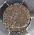 1797 HALF DIME DRAPED BUST PCGS AU 53 OUTSTANDING DETAIL FOR THE GRADE