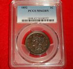 1852 1C PCGS MS62 CHOICE UNCIRCULATED UNC BU BRAIDED HAIR LARGE CENT TYPE COIN