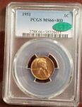 1951 LINCOLN CENT PCGS MS 66  RD AND CAC CERTIFIED        THIS NICE