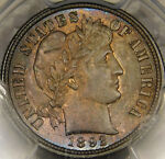 1892 10C BARBER/LIBERTY HEAD DIME UNCIRCULATED CERTIFIED GEM PCGS MS65