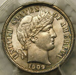 1909 10C BARBER/LIBERTY HEAD DIME CERTIFIED PCGS MS63